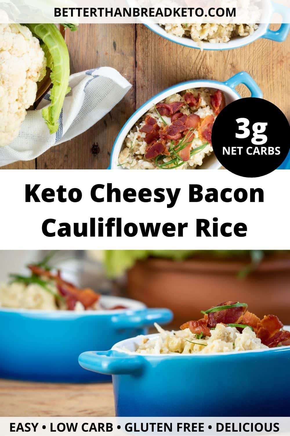 Keto Cheesy Bacon Cauliflower Rice
