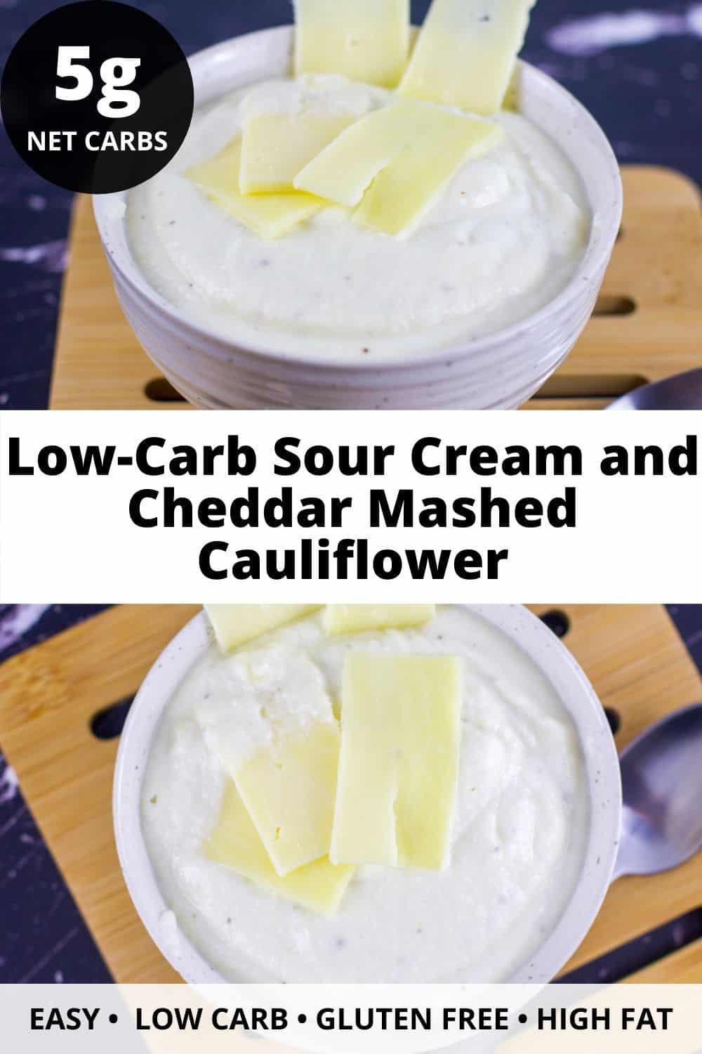 Low-Carb Sour Cream and Cheddar Mashed Cauliflower